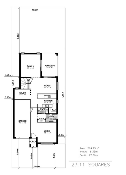 y. Marina 4 Bedroom Media Activities Study Ground Floor Plan