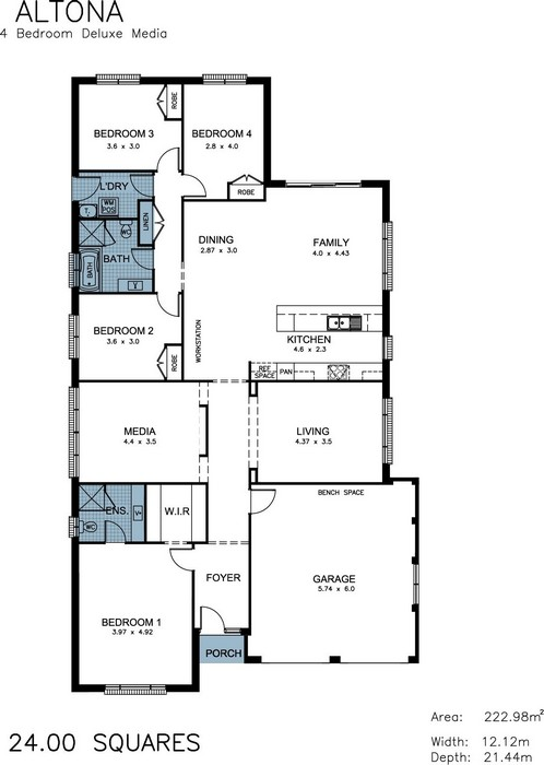 z. Altona 4 Bedroom Deluxe Media Floor Plan
