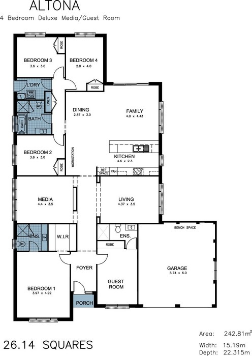 z. Altona 4 Bedroom Deluxe Media Guest Room Floor Plan
