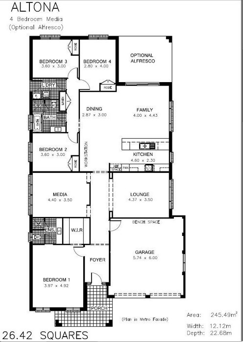 z. Altona 4 Bedroom Media (optional Alfresco) Floor Plan