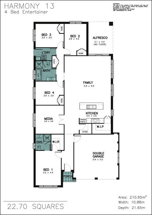z. Harmony 13 4 Bedroom Entertainer Floor Plan