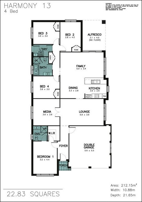 z. Harmony 13 4 Bedroom Floor Plan