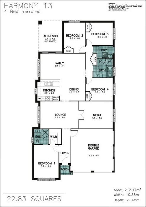 z. Harmony 13 4 Bedroom Mirrored Front Floor Plan