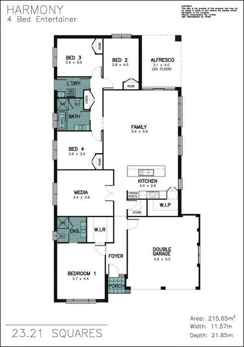 z. Harmony 4 Bedroom Entertainer Floor Plan