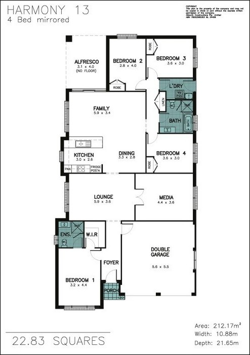 z. Harmony 4 Bedroom Mirrored Front Floor Plan