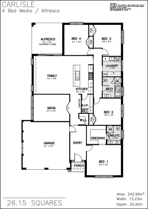 z. Carlisle 4 Bed Media Floor Plan