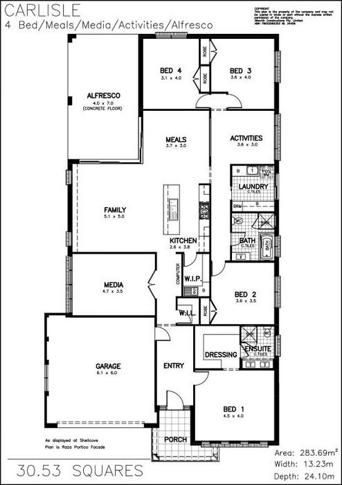 z. Carlisle 4 Bed Media-Meals-Activities Floor Plan