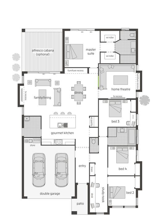 z. Santorini Floor Plan - Left