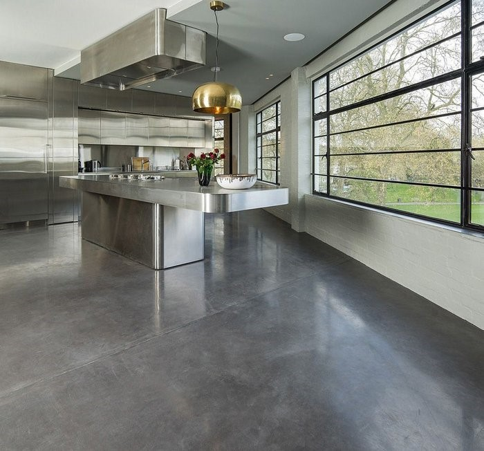 polished concrete floor - grey